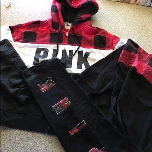 vs pink sherpa full zip hoodie bling legging Sz m